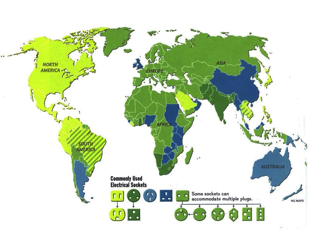 Enchufes, voltajes y frecuencias en el mundo